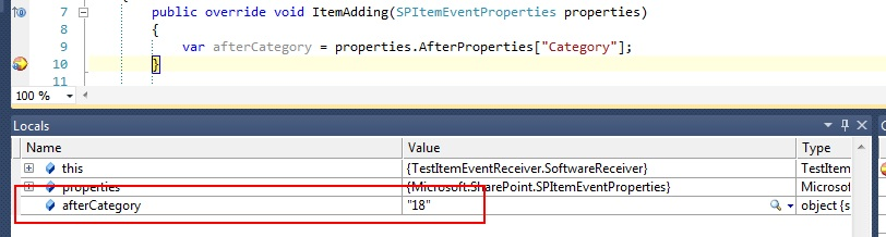 Accessing SharePoint lookup fields values in item receivers